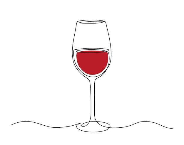 Desenho de linha contínua de um copo de vinho tinto. ilustração em vetor de traço editável