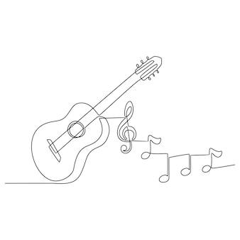 Desenho de linha contínua de um instrumento musical de guitarra com ilustração vetorial de notas de instrumento