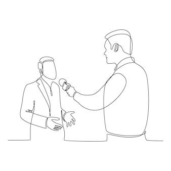 Desenho de linha contínua de um jornalista dando uma entrevista ilustração vetorial