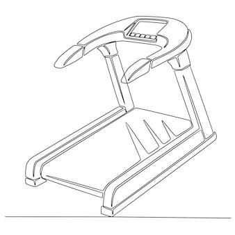 Desenho de linha contínua de uma ilustração vetorial de ferramenta de fitness em esteira