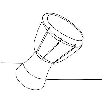 Desenho de linha contínua de uma ilustração vetorial de instrumento musical de bateria africana