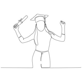 Desenho de linha contínua de uma jovem estudante graduada fazendo um sinal de positivo com o polegar para cima conceito de educação