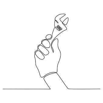 Desenho de linha contínua de uma mão segurando uma ilustração vetorial de chave de construção