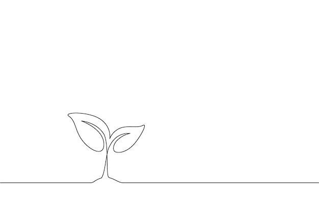Desenho de linha contínua de uma plantinha crescendo em fundo branco