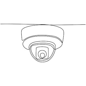 Desenho de linha contínua de vetor de esboço de câmera de vigilância cctv
