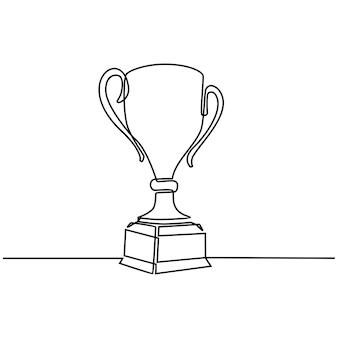Desenho de linha contínua do prêmio do campeão, troféu, vitória, esportes, prêmio, conceito, competição