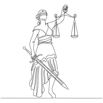 Desenho de linha contínua do símbolo de justiça vendado com peso no braço e vetor de espada afiada