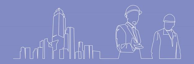 Desenho de linha contínua engenheiro edifício construção ilustração vetorial supervisão simples. indústria