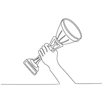 Desenho de linha contínua levantamento de mão troféu campeão competição campeão conceito vetor