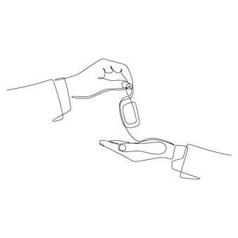 Desenho de linha contínua mão masculina dando a chave do carro para vetor feminino