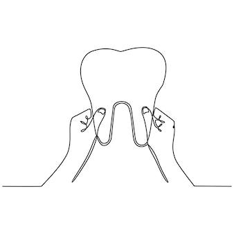 Desenho de linha contínua mão segurando os dentes, cuidados dentários e ilustração vetorial de conceito de proteção