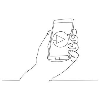 Desenho de linha contínua mão segurando sematfone conceito assistir vídeo ilustração vetorial