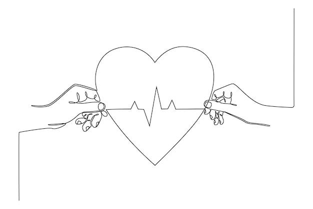 Desenho de linha contínua mão segurando um coração com ilustração vetorial de conceito de saúde de linha ecg