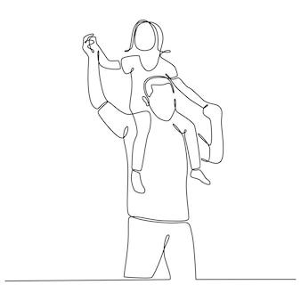 Desenho de linha contínua pai feliz pegando carona filhinha brincando com vetor de pai