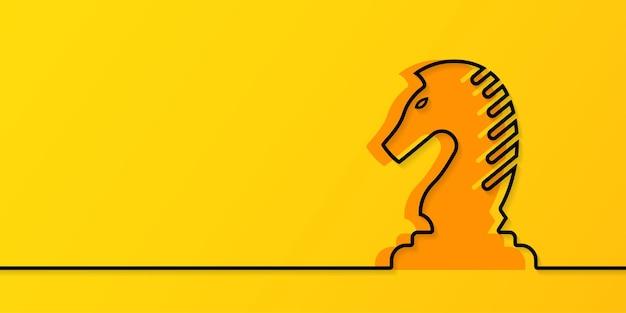 Desenho de linha contínuo cavaleiro de xadrez em fundo amarelo estratégia de negócios e conceito de gestão