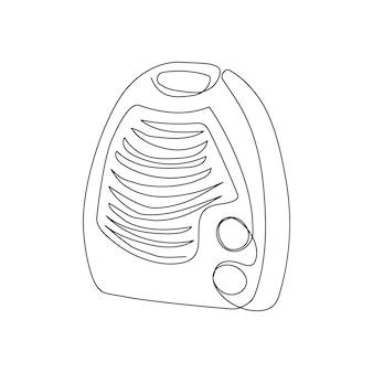 Desenho de linha contínuo de aquecedor de ar elétrico portátil uma arte de linha de aquecimento de aquecedor