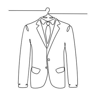 Desenho de linha contínuo de ilustração vetorial de camisa masculina