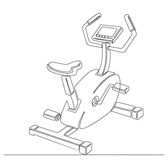 Desenho de linha contínuo de ilustração vetorial de equipamento esportivo de bicicleta ergométrica