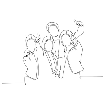 Desenho de linha contínuo de ilustração vetorial de grupo de alunos com polegares para cima