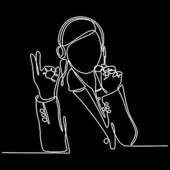 Desenho de linha contínuo de ilustração vetorial de operador de atendimento ao cliente feminino sorridente