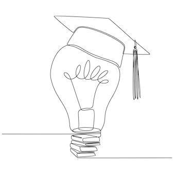Desenho de linha contínuo de lâmpada com vetor de tampa de graduação
