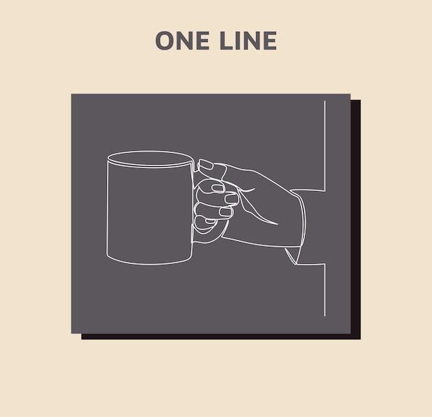Desenho de linha contínuo de mão segurando uma caneca isolada