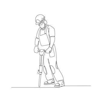 Desenho de linha contínuo de um jornalista fazendo uma ilustração vetorial de transmissão ao vivo