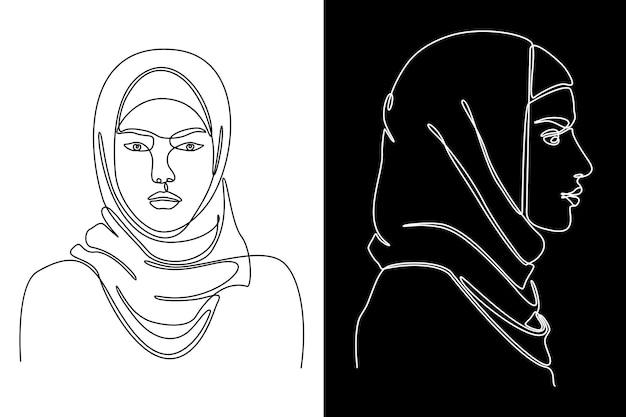 Desenho de linha contínuo do perfil facial de uma mulher muçulmana, visto de lado, ilustração vetorial