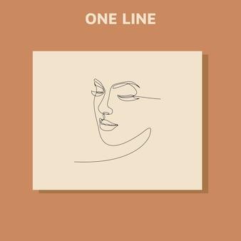 Desenho de linha contínuo do retrato do rosto de uma mulher bonita