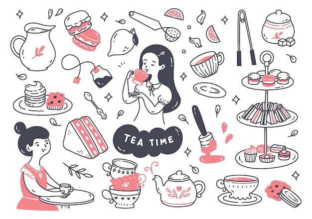 Desenho de linha de doodle para a hora do chá