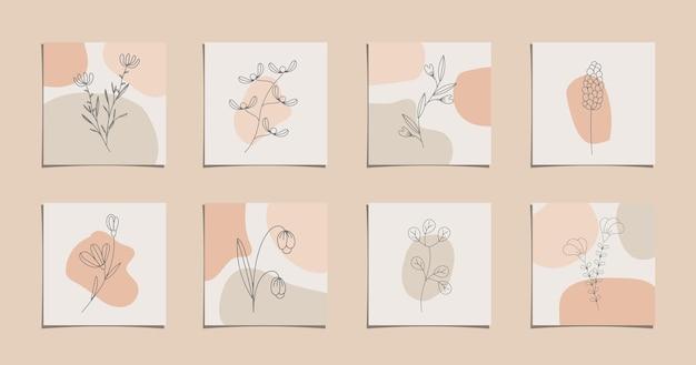 Desenho de linha de flor com ilustração de estilo mínimo