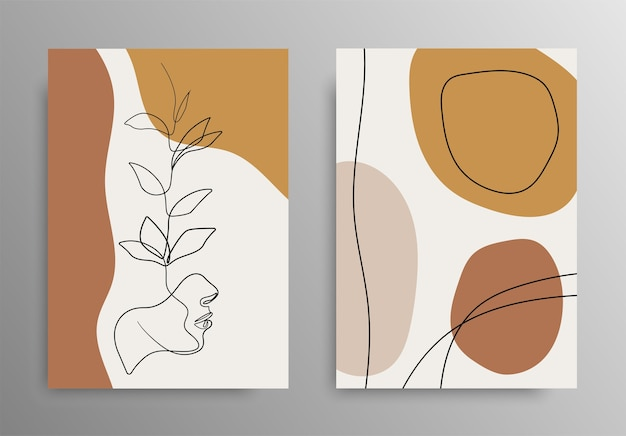 Desenho de linha de flores. moda de rosto criativo. arte de desenho de linha contínua. um projeto de desenho de linha. arte botânica mínima abstrata. estoque .