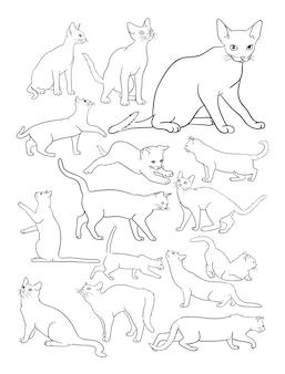 Desenho de linha de gatos