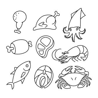 Desenho de linha de ingredientes de alimentos frescos, carnes e frutos do mar.