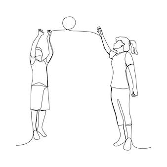Desenho de linha de um casal asiático feliz juntos para jogar basquete ... pessoas desenhadas à mão para o dia do esporte.