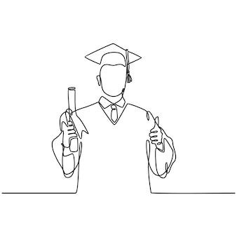 Desenho de linha de um jovem feliz estudante do sexo masculino usando uniforme de formatura e dando polegares