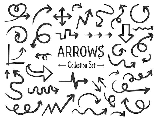 Desenho de linha desenhado à mão livre conjunto de setas isoladas no fundo branco