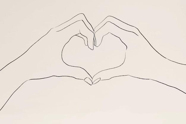 Desenho de linha do vetor de gesto de mão do coração