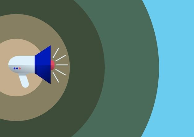 Desenho de linha megafone produzindo propaganda recente. ilustração de um alto-falante megafone alto fazendo novos anúncios. esboço do amplificador mostrando transmissão tardia.