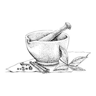 Desenho de linha vintage de almofariz e pilão