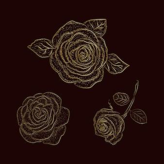 Desenho de linha vintage ouro rosa