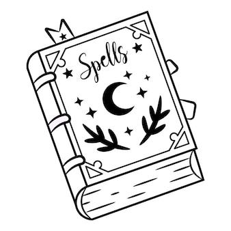 Desenho de livro de feitiços de halloween para colorir