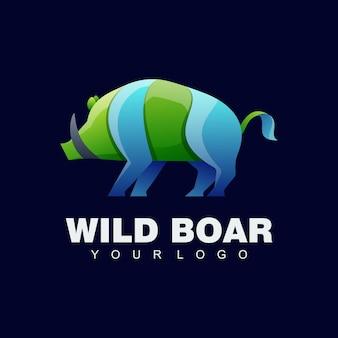 Desenho de logotipo abstrato de ilustração colorida de javali