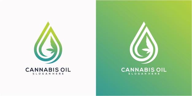 Desenho de logotipo abstrato de maconha cannabis ganja e água ou óleo