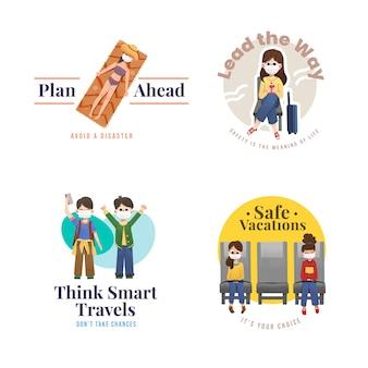 Desenho de logotipo com conceito de prevenção covid-19 para branding e marketing.