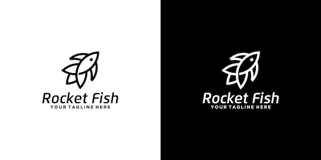 Desenho de logotipo criativo de peixes e foguetes em estilo de linha de arte