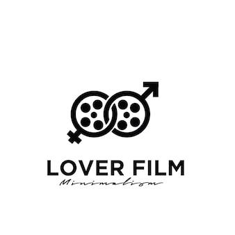 Desenho de logotipo da produção de filmes de estúdio de cinema amante