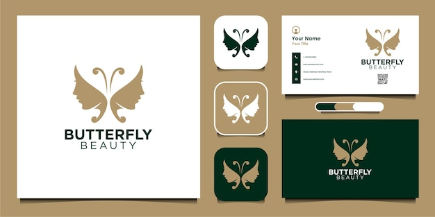 Desenho de logotipo de borboleta com beleza e cartão de visita