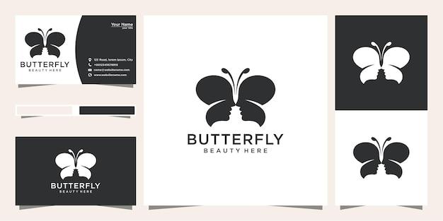 Desenho de logotipo de borboleta com conceito de rosto humano e cartão de visita