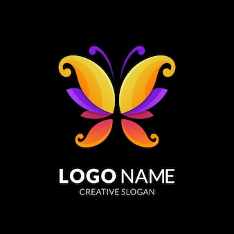 Desenho de logotipo de borboleta, logotipo moderno em gradiente de cores vibrantes